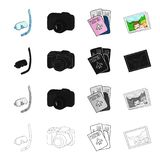 Mask and snorkel, camera, documents passport, photograph. Family holiday set collection icons in cartoon black. Monochrome outline style vector symbol stock Stock Photo