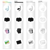 Mask and snorkel, camera, documents passport, photograph. Family holiday set collection icons in cartoon black. Monochrome outline style vector symbol stock Royalty Free Stock Photos