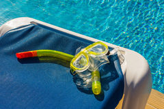 Mask and snorkel for diving near the pool Stock Images