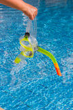 Mask and snorkel for diving near the pool Stock Image