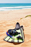 Mask, snorkel, fins on the beautiful beach. Royalty Free Stock Images