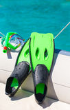 Mask, snorkel and fins for snorkeling at boat Stock Photo