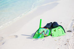 Mask, snorkel and fins for snorkeling on white Royalty Free Stock Image