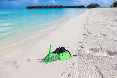 Mask, snorkel and fins for snorkeling on white Stock Images