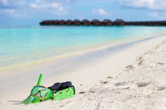 Mask, snorkel and fins for snorkeling on white Stock Photography