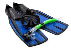 Mask, snorkel and flippers Stock Photography