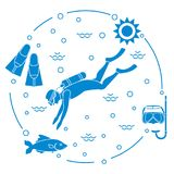 Mask, snorkel, flippers, sun, fish, scuba diver. Sports and recreation theme. Design for banner, poster or print Royalty Free Stock Photo