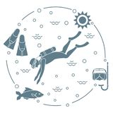 Mask, snorkel, flippers, sun, fish, scuba diver. Sports and recreation theme. Design for banner, poster or print Royalty Free Stock Image