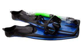 Mask, snorkel and flippers with water drops Stock Image