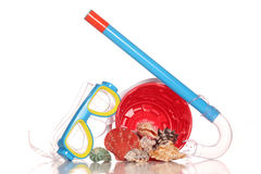 Mask and snorkel with seashells Stock Images