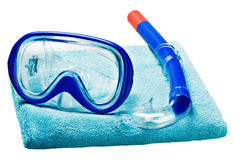 Mask and snorkel for swimming on a towel Royalty Free Stock Image