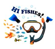 Mask with snorkel on white background with fish. Mask with snorkel and fins for snorkeling on white background with fish Stock Image