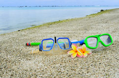 Mask and snorkels on tropical Island vacation Royalty Free Stock Photo
