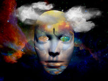Mask in the space. Mask with surreal painting in the space  Some elements provided courtesy of NASA Stock Image