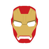 Mask of super hero face character in flat design template. Golden and red Royalty Free Stock Photo