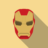 Mask of super hero face character in flat design template. Golden and red Royalty Free Stock Images