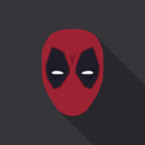 Mask of super hero in a flat design. Red colour. Vector illustration Stock Photos