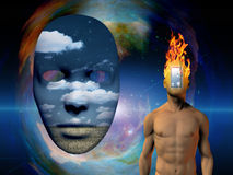Mask. Surreal painting. Naked man with burning head and opened door instead of his face. Mask represents another dimension Stock Image