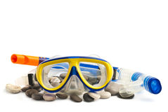 Mask and tube for diving under water Royalty Free Stock Images