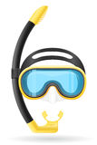 Mask and tube for diving vector illustration Royalty Free Stock Images