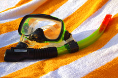 Mask and tube for a scuba diving Royalty Free Stock Images