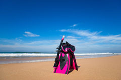 Mask with tube for snorkeling and flippers on the beach Stock Images