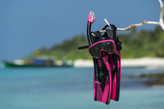 Mask with tube for snorkeling and flippers on the beach Stock Image
