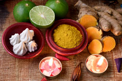Mask with turmeric, lime and calcium carbonate. Royalty Free Stock Images
