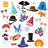 Mask vector kids carnival costume hat for children masquerade party and cartoon animal masks illustration set of masked. Child and headwear for birthday stock illustration