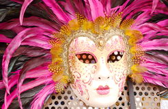 Mask from venice. Pink feather mask from venice Stock Images