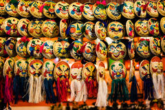 Mask from Vietnam. Colorful masks hanging on the market in Vietnam Royalty Free Stock Image