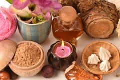 Mask Wan-chak-mot-luk (Thai name) (Curcuma xanthorrhiza Roxb.), Tamarind, soft-prepared. chalk and honey, to help skin firming and Stock Photography