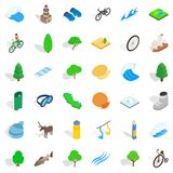 Mask for water icons set, isometric style. Mask for water icons set. Isometric style of 36 mask for water vector icons for web isolated on white background Royalty Free Stock Images