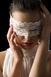 Mask and white lace Stock Photos