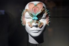 Sculpture of Björk`s head in mask royalty free stock image