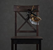 Mask on  wooden chair Stock Photo
