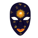 Mask zodiac. Mask monthly zodiac with the sun Royalty Free Stock Image