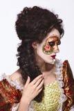 maska venetian Piękna kobieta w rocznik sukni i maska na cześć Zdjęcie Stock