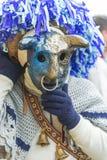 Maska z rogiem i kapeluszem przy Aliano prowincją Matera Obraz Stock