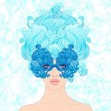 Maskarada: Dziewczyna przy karnawałem na błękitnym tle ilustracji