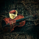 Maskarada - fantom opery maska z skrzypce Obraz Stock