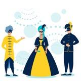maskarada Ludzie w kostiumach przy tanem W minimalisty stylu Kreskówki mieszkania wektor royalty ilustracja