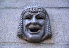 Maskaron - театральная маска на стене гранита Взгляд собора Андрюа апостола Стоковые Фото