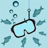 Maske für das Tauchen auf einem Fischereihaken Underwater stock abbildung
