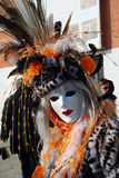 Maske im Leopardkarnevalskostüm. Karneval in Venedig. Stockbilder