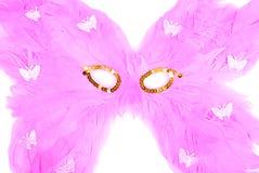 Maske von rosa Federn auf einem lokalisierten Hintergrund Lizenzfreie Stockfotos