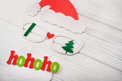 Maske von Weihnachtsmann mit Passfotoautomaten Lizenzfreies Stockfoto