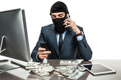 Masked anonymous businessman wearing balaclava helmet Royalty Free Stock Photos