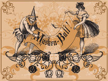 Masked ball. Old vintage design with masked ball elements Stock Images