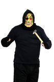 Masked bandit threatens with a hammer. Black masked bandit threatens with a hammer on white background Stock Photos